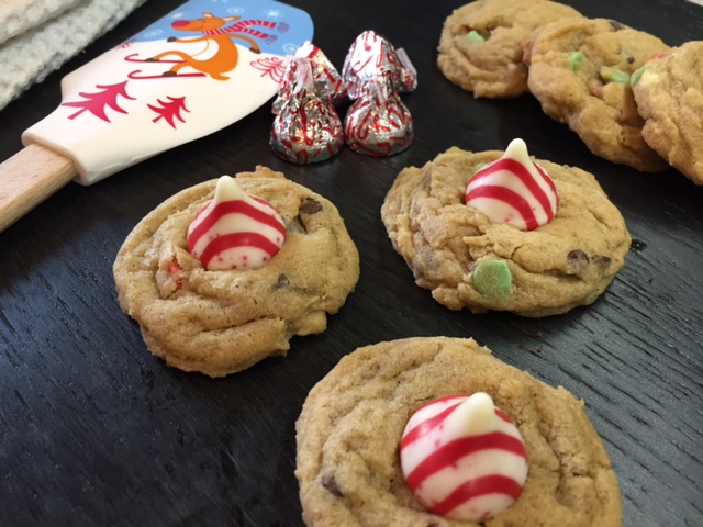 Candy Cane Kissed Chocolate Chip Cookies