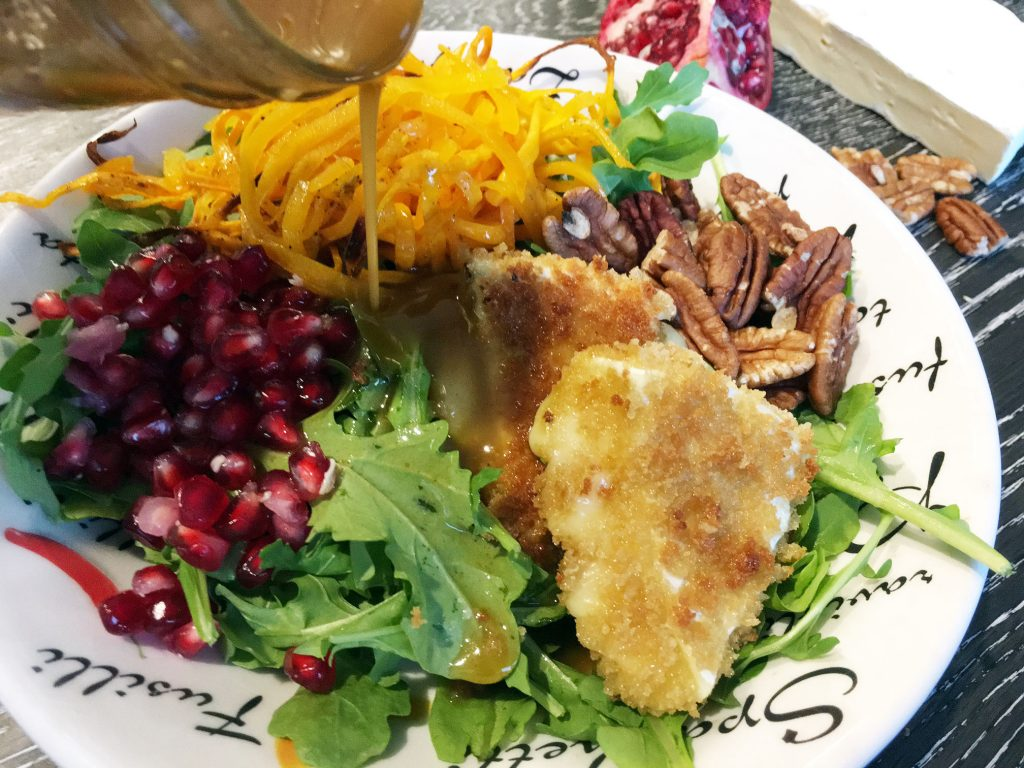 Winter Salad with Butternut Squash, Pomegranate and Fried Brie