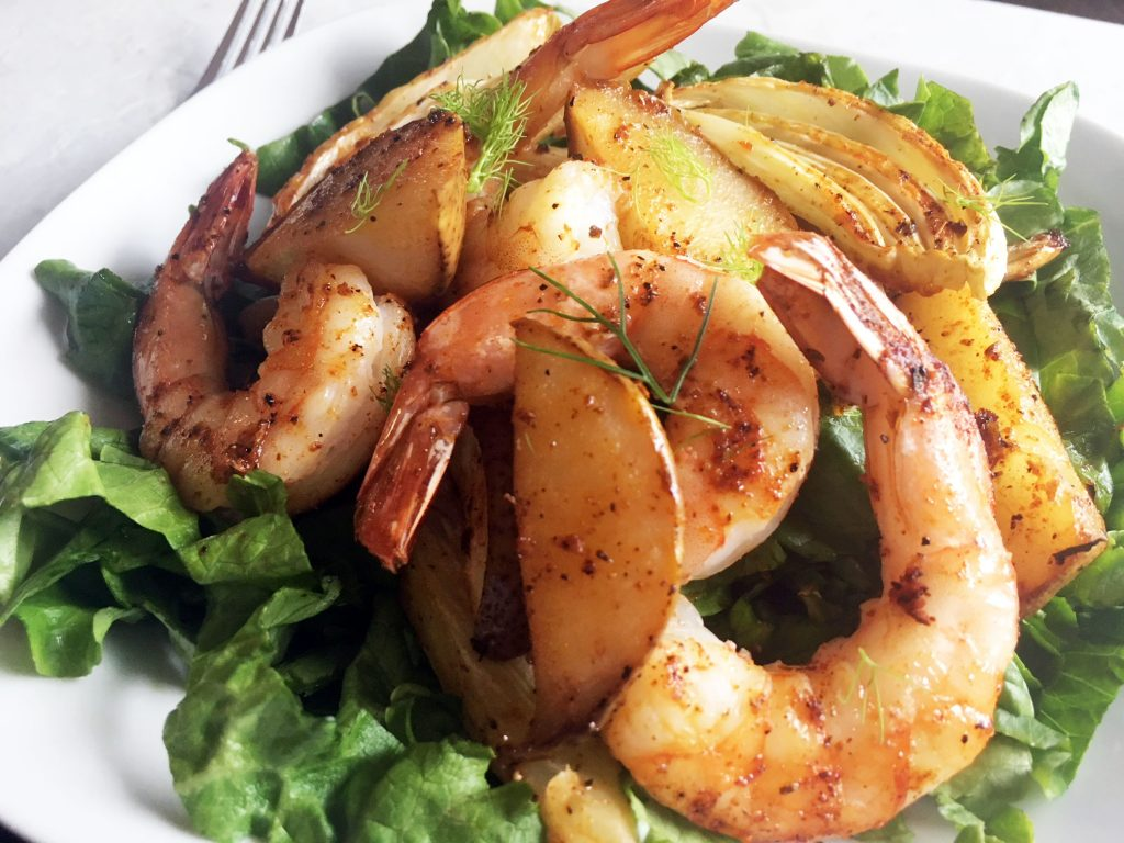 Roasted Pears, Fennel and Shrimp Salad