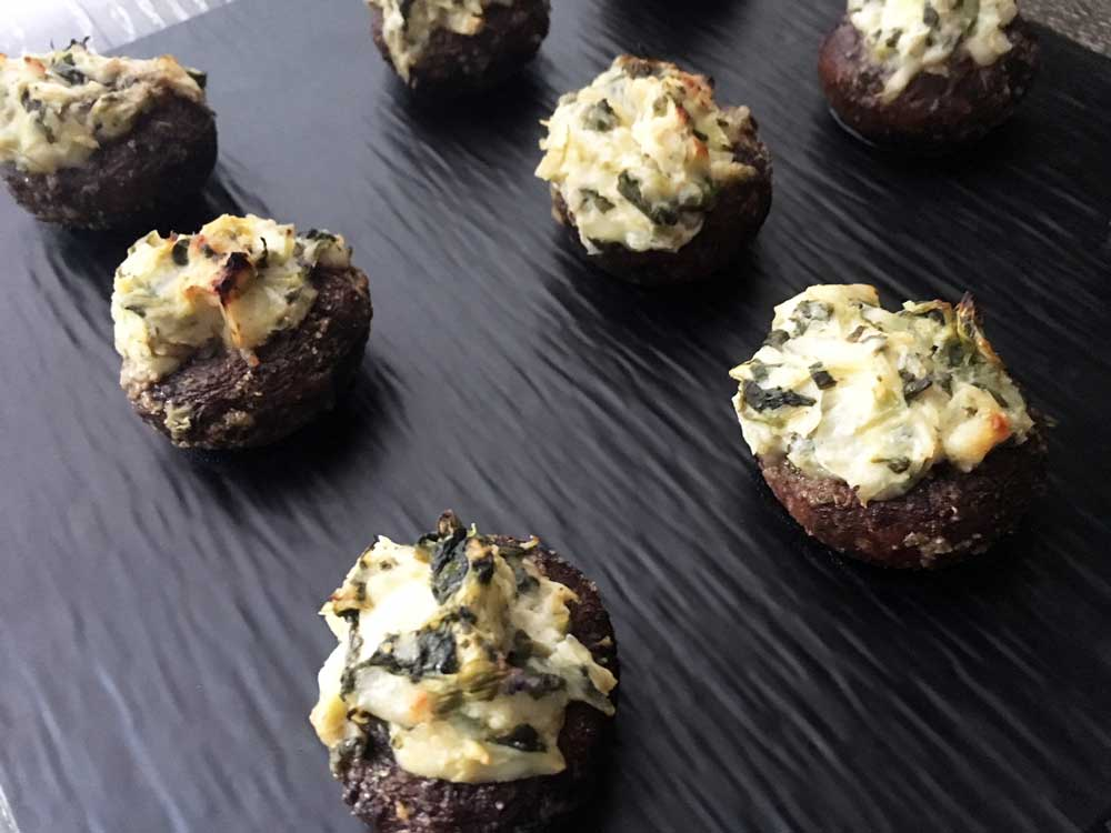 Spinach & Artichoke Dip Stuffed Mushrooms