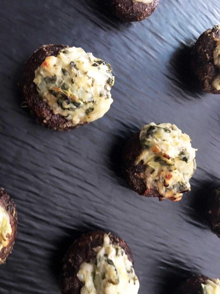 Spinach and Artichoke Dip Stuffed Mushrooms