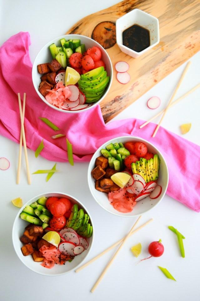 Watermelon, cucumber & radish tofu bowl with citrusy soy vinaigrette