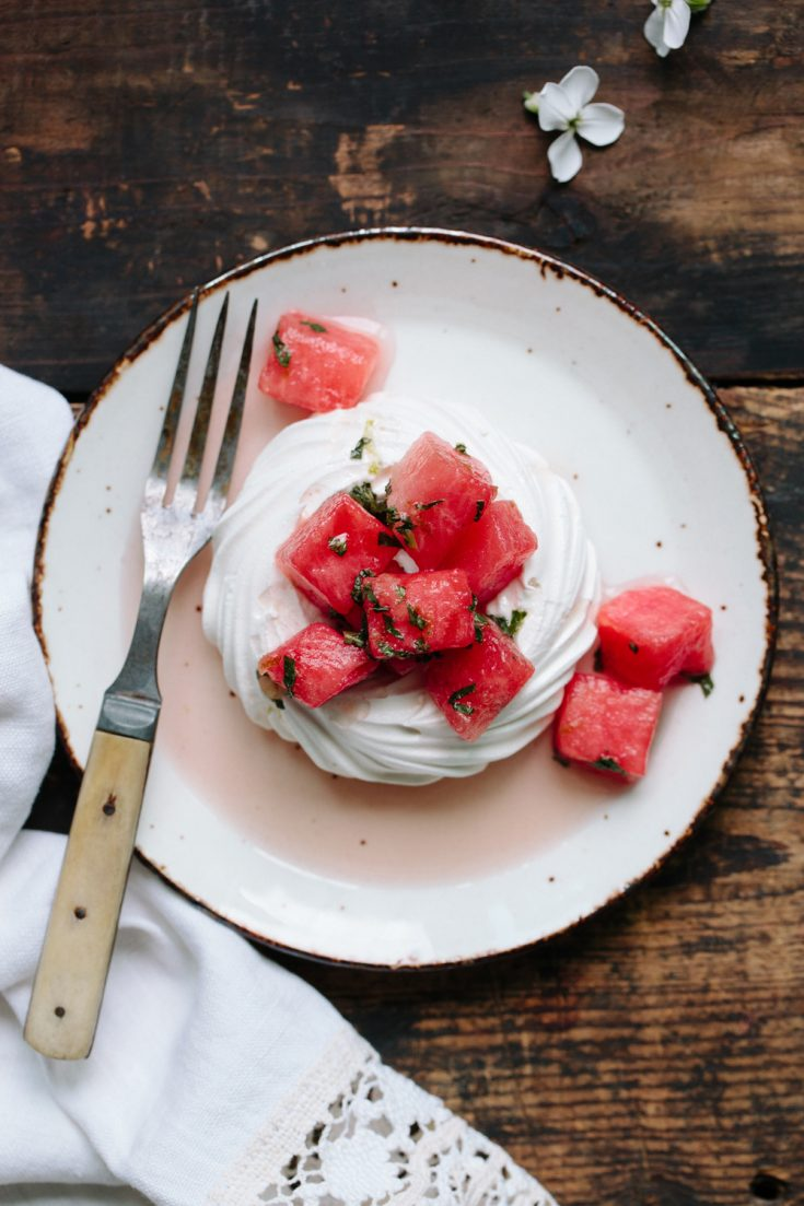 Watermelon Pavlova With Fresh Mint And Lime