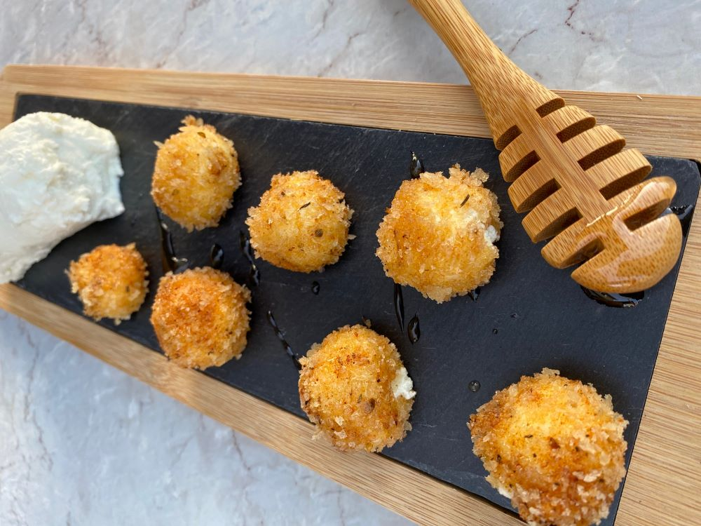Fried Goat Cheese with Sriracha Honey
